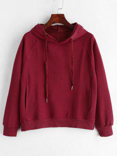 Drawstring Side Pockets Pullover Hoodie - Red Wine L