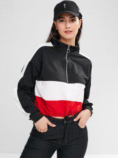 Color Block Stripe Trim Half Zip Sweatshirt - Multi-a