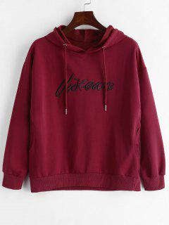 Drawstring Front Letter Embroidery Hoodie - Red Wine M