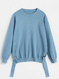 Letter Side Tied Knit Sweater - Deep Sky Blue