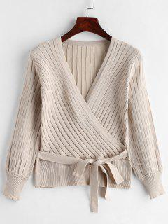 Ribbed Surplice Knit Top - Light Khaki