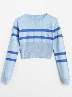 Round Neck Two Tone Pullover Sweater - Sky Blue