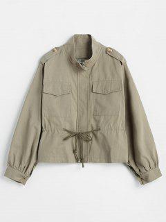 Drawstring Waist Zip Up Safari Jacket - Camouflage Green