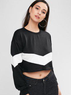 Two Tone Drop Shoulder Sweatshirt - Black S