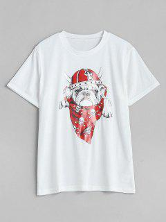 Round Neck Gog Print Tee - White Xl