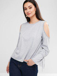Cold Shoulder Flare Sleeve Tee - Gray S