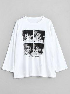 Portrait Graphic Loose Tee - White