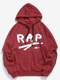 Letter Striped False Two Piece Hoodie - 红色 2xl
