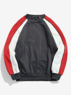 Contrast Raglan Sleeve Fleece Sweatshirt - Gray Xl