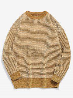 Soft Striped Knit Sweater - Bee Yellow L