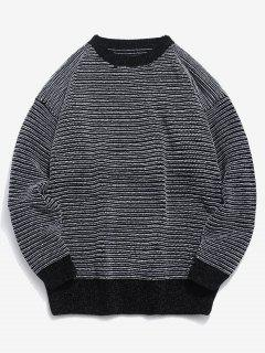 Soft Striped Knit Sweater - Black 2xl