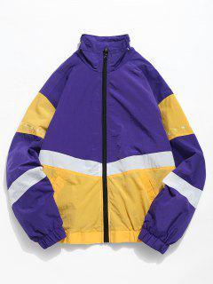 Contrast Letter Embroidery Lightweight Jacket - Purple Sage Bush L