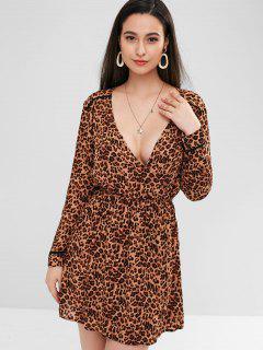 Long Sleeve Lepoard Surplice Dress - Leopard M