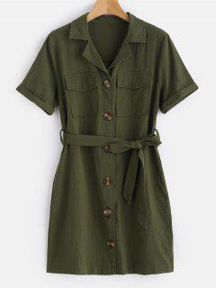 Button Up Belted Mini Shirt Dress - Army Green M
