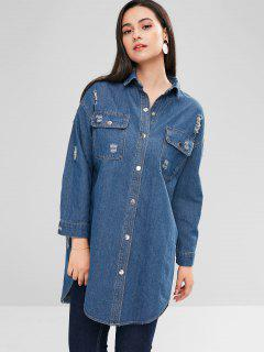 Distressed Snap Button Denim Coat - Denim Blue