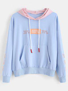 Pouch Pocket Embroidered Pullover Hoodie - Day Sky Blue