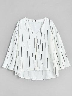 Vertical Print High Low Blouse - White