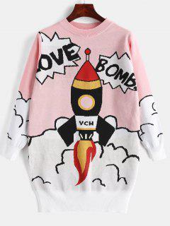 Crew Neck Graphic Tunic Sweater - Pink