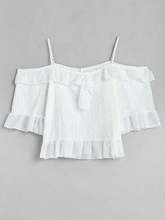 Rüschen Cold Shoulder Crop Bluse - Weiß Xl