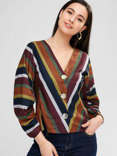 Ruched Long Sleeve Striped Top - Multi L