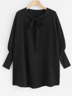 Bowknot Tie Batwing Sleeve Jumper - Black S