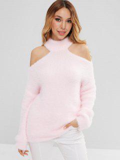 Mock Neck Cold Shoulder Fuzzy Sweater - Pig Pink