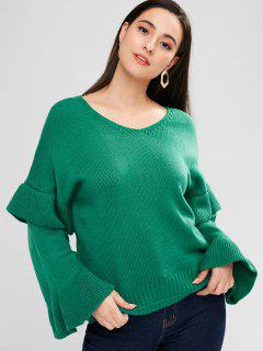 Loose Ruffles V Neck Sweater - Sea Green