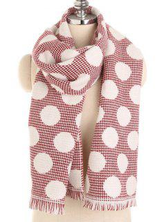 Winter Polka Dot Fringed Long Scarf - Cherry Red