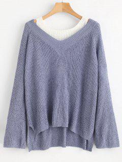 Asymmetrical Two Tone Chunky Sweater - Slate Blue