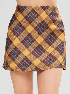 Bodycon Plaid Skirt - Multi L