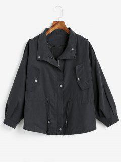 Drawstring Lightweight Jacket - Black