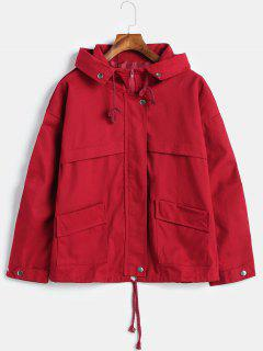 Hooded Patch Pockets Twill Jacket - Red Wine Xl