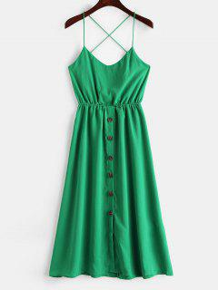Solid Color Buttons Cami Dress - Green L