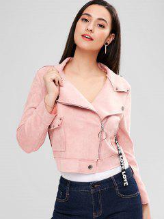 Faux Suede Rivet Zipper Jacket - Pink L