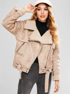 Faux Suede Belted Pocket Coat - Light Khaki L