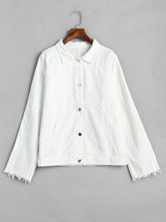 Geknöpfte übergroße Jeansjacke - Weiß M