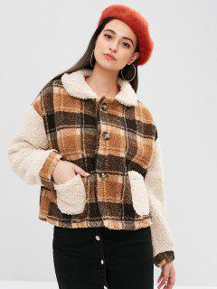 Plaid Boxy Pocket Fluffy Coat - Multi