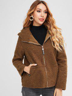 Side Zip Hooded Fluffy Coat - Brown L