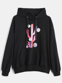 Cactus Print Pocket Drawstring Hoodie - Black