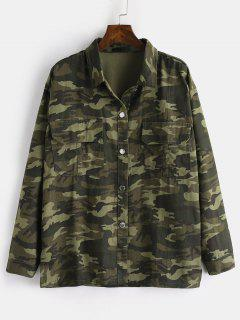 Button Up Camo Print Jacket - Camouflage Green