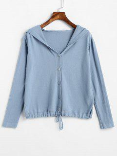 Hooded Button Detail Cardigan - Blue Koi
