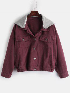 Contrast Hood Pockets Jacket - Red Wine L
