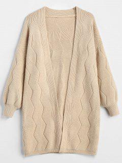 Collarless Drop Shoulder Tunic Cardigan - Apricot