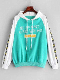 Letter Print Drawstring Side Smile Hoodie - Mint Green M
