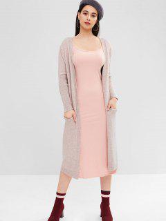 Long Sleeve Knit Duster Cardigan - Orange Pink