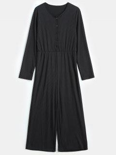 Half Button Long Sleeve Jumpsuit - Black S