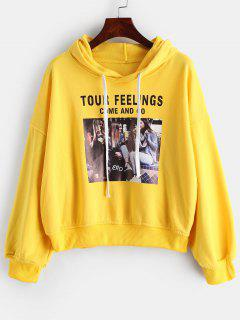 Drawstring Graphic Pattern Pullover Hoodie - Yellow S
