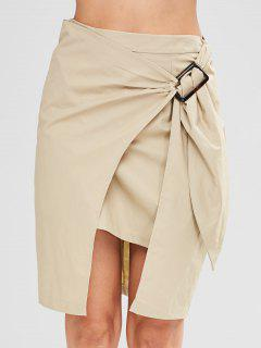 Solid Color High Low Skirt - Light Khaki M
