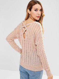 Back Criss Cross Openwork Sweater - Deep Peach