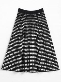 A Line Checked Mid Calf Skirt - Multi
